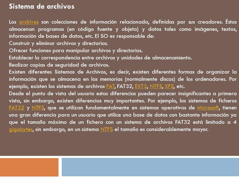 Sistema de archivos Los archivos son colecciones de información relacionada, definidas por sus creadores.