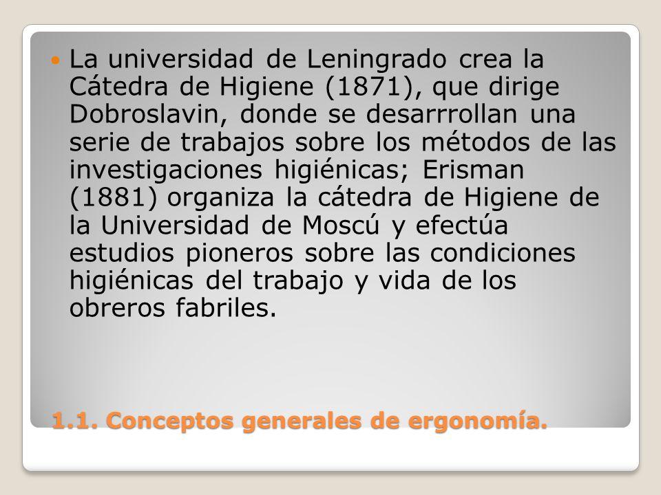 1.1. Conceptos generales de ergonomía. 1.1. Conceptos generales de ergonomía. La universidad de Leningrado crea la Cátedra de Higiene (1871), que diri