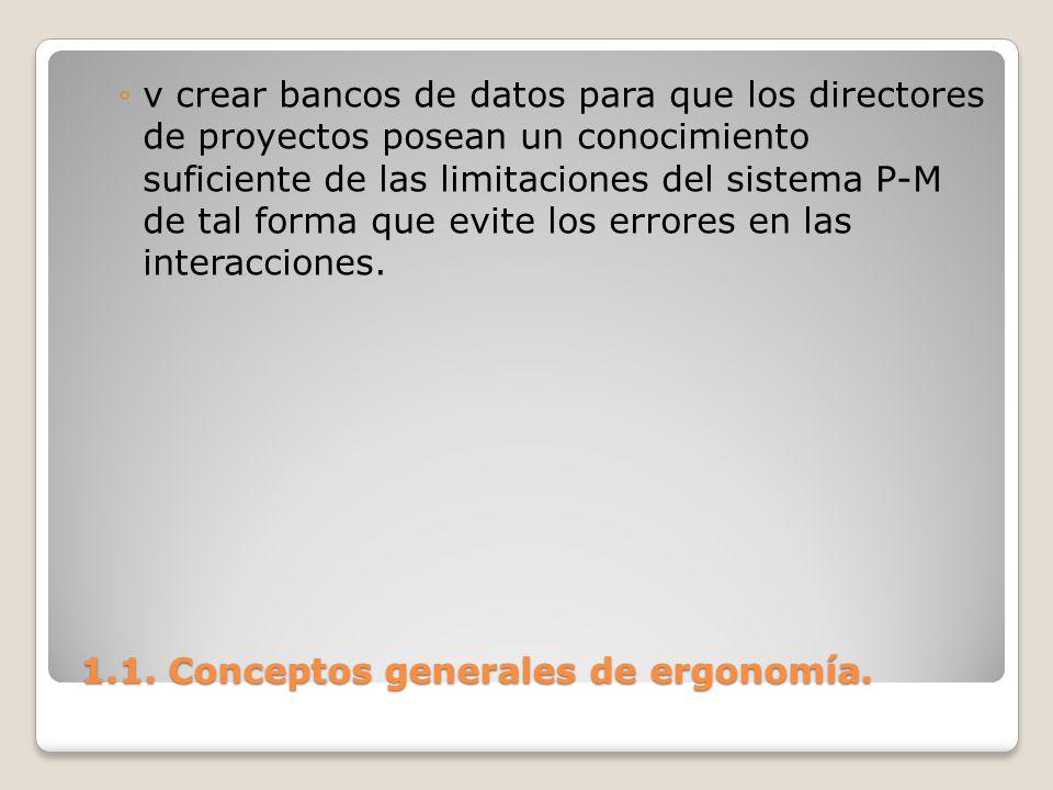 1.1. Conceptos generales de ergonomía. 1.1. Conceptos generales de ergonomía. v crear bancos de datos para que los directores de proyectos posean un c