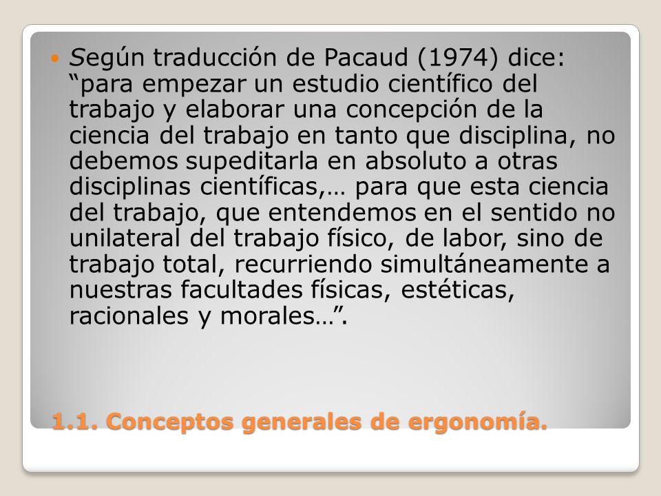 1.1. Conceptos generales de ergonomía. 1.1. Conceptos generales de ergonomía. Según traducción de Pacaud (1974) dice: para empezar un estudio científi