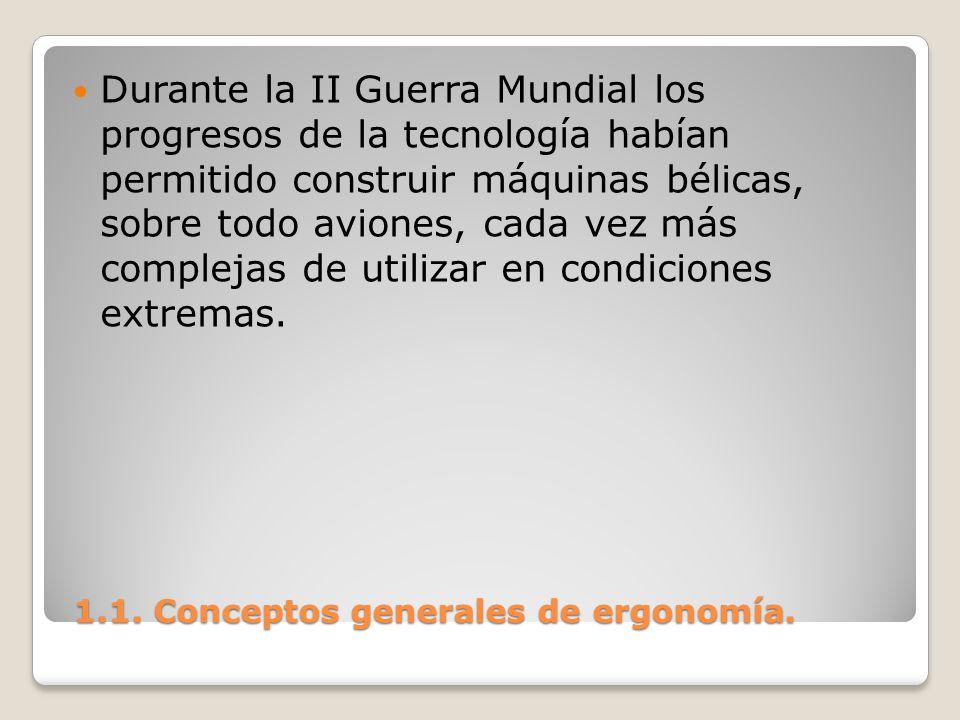 1.1. Conceptos generales de ergonomía. 1.1. Conceptos generales de ergonomía. Durante la II Guerra Mundial los progresos de la tecnología habían permi