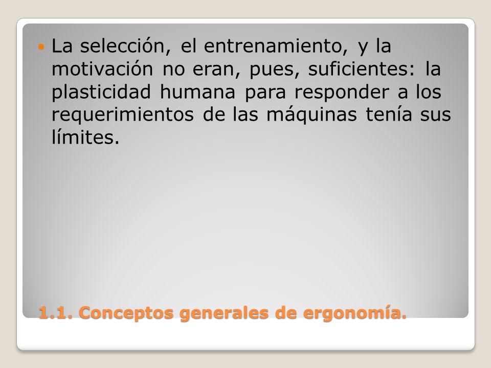 1.1. Conceptos generales de ergonomía. 1.1. Conceptos generales de ergonomía. La selección, el entrenamiento, y la motivación no eran, pues, suficient