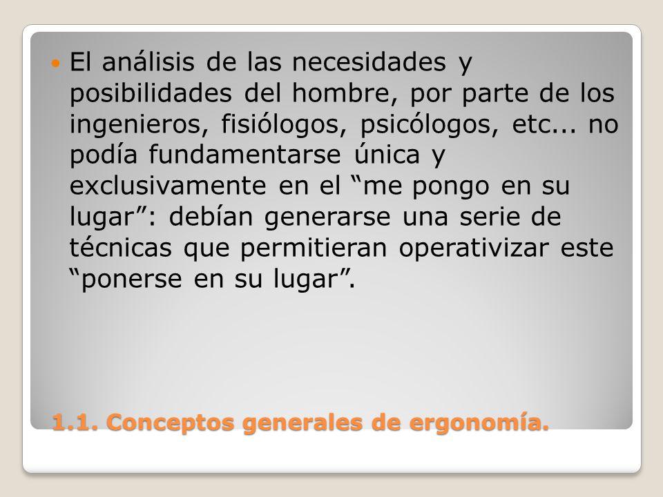 1.1. Conceptos generales de ergonomía. 1.1. Conceptos generales de ergonomía. El análisis de las necesidades y posibilidades del hombre, por parte de