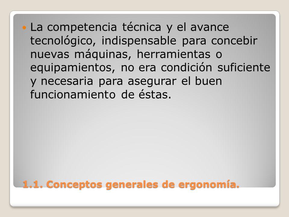 1.1. Conceptos generales de ergonomía. 1.1. Conceptos generales de ergonomía. La competencia técnica y el avance tecnológico, indispensable para conce