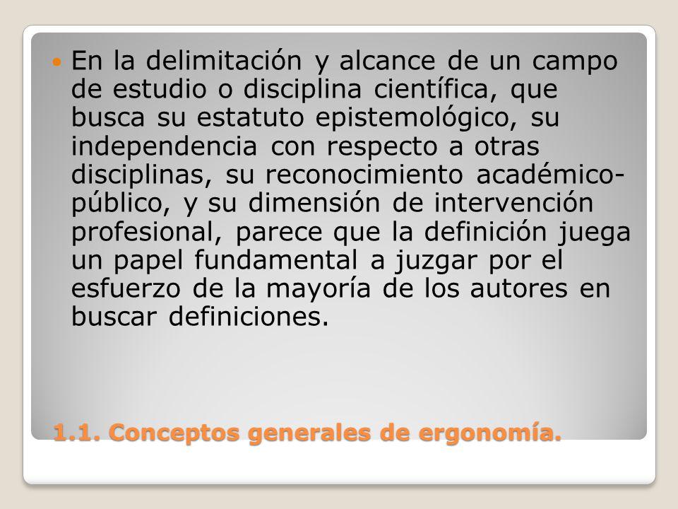 1.1. Conceptos generales de ergonomía. 1.1. Conceptos generales de ergonomía. En la delimitación y alcance de un campo de estudio o disciplina científ