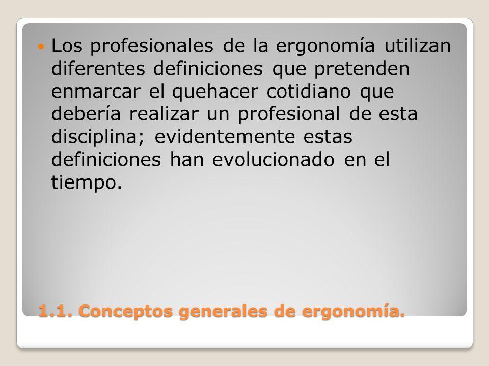 1.1. Conceptos generales de ergonomía. 1.1. Conceptos generales de ergonomía. Los profesionales de la ergonomía utilizan diferentes definiciones que p