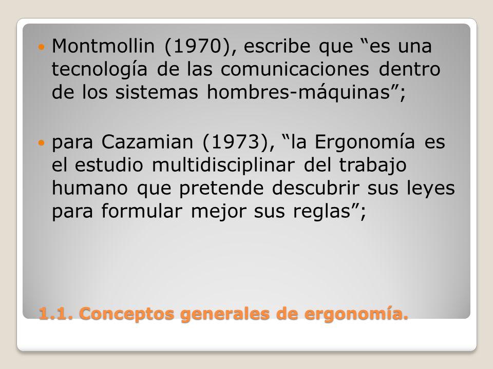 1.1. Conceptos generales de ergonomía. 1.1. Conceptos generales de ergonomía. Montmollin (1970), escribe que es una tecnología de las comunicaciones d