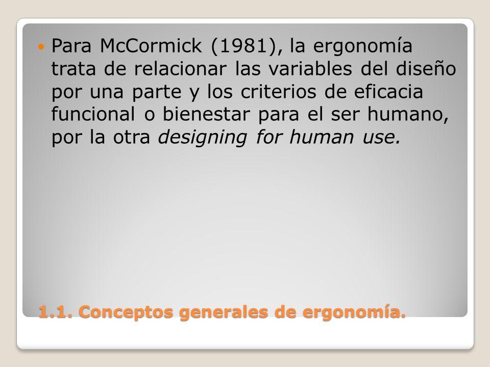 1.1. Conceptos generales de ergonomía. 1.1. Conceptos generales de ergonomía. Para McCormick (1981), la ergonomía trata de relacionar las variables de