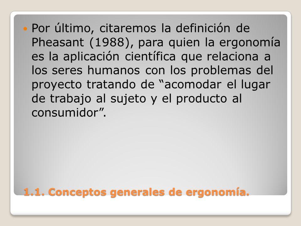 1.1. Conceptos generales de ergonomía. 1.1. Conceptos generales de ergonomía. Por último, citaremos la definición de Pheasant (1988), para quien la er