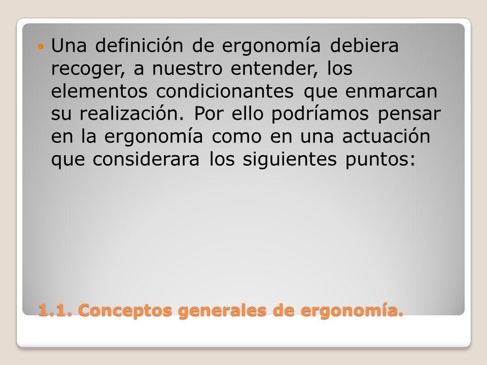 1.1. Conceptos generales de ergonomía. 1.1. Conceptos generales de ergonomía. Una definición de ergonomía debiera recoger, a nuestro entender, los ele