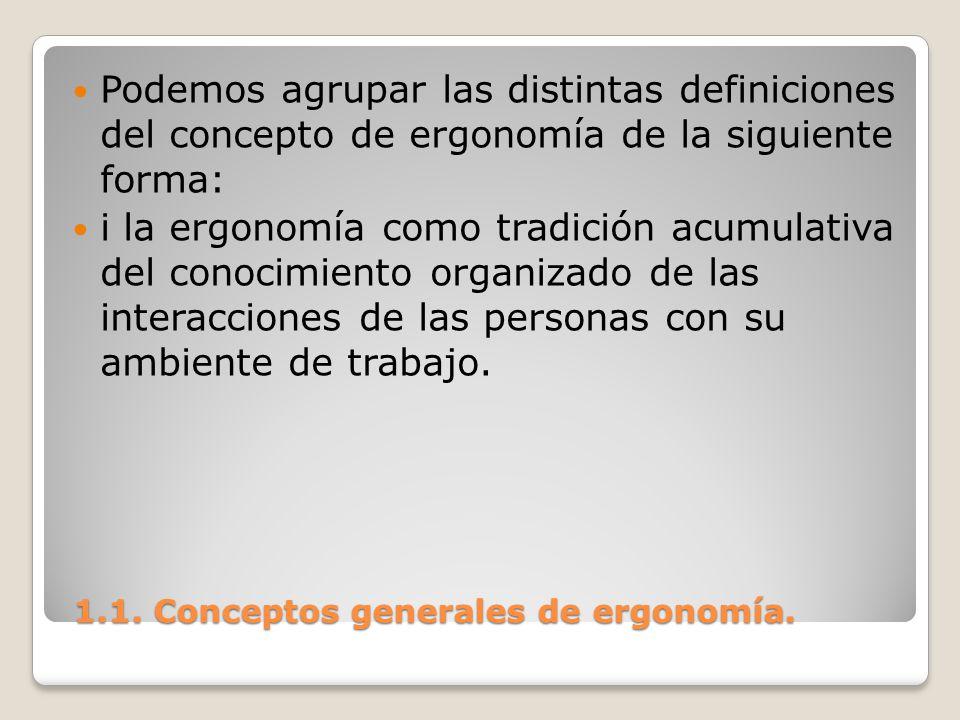 1.1. Conceptos generales de ergonomía. 1.1. Conceptos generales de ergonomía. Podemos agrupar las distintas definiciones del concepto de ergonomía de