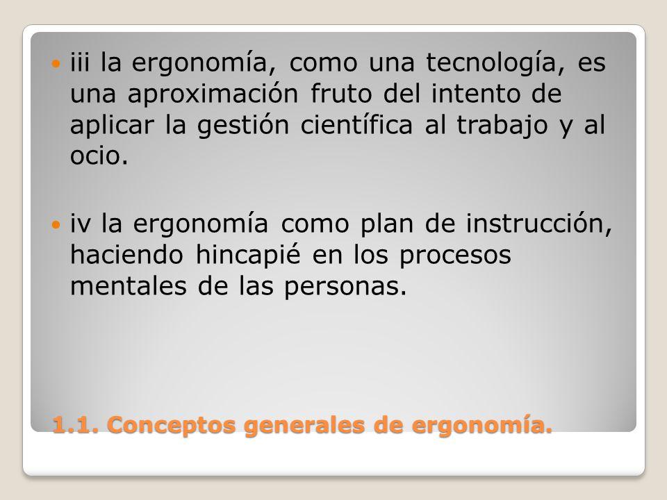 1.1. Conceptos generales de ergonomía. 1.1. Conceptos generales de ergonomía. iii la ergonomía, como una tecnología, es una aproximación fruto del int