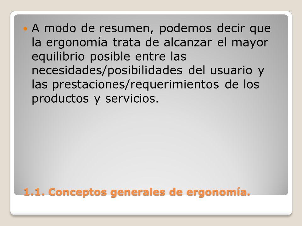 1.1. Conceptos generales de ergonomía. 1.1. Conceptos generales de ergonomía. A modo de resumen, podemos decir que la ergonomía trata de alcanzar el m