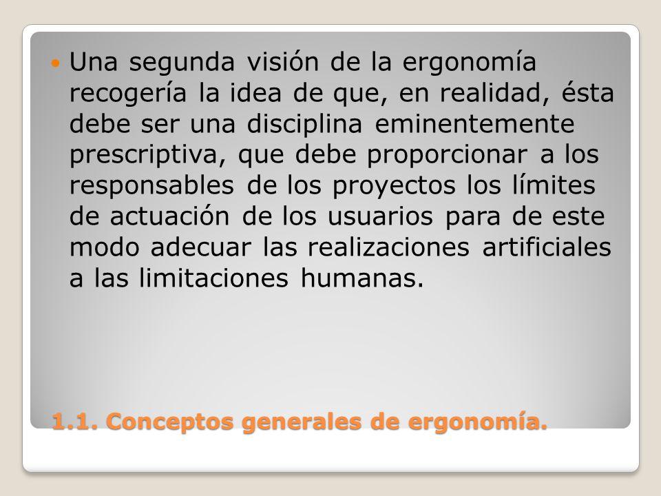 1.1. Conceptos generales de ergonomía. 1.1. Conceptos generales de ergonomía. Una segunda visión de la ergonomía recogería la idea de que, en realidad