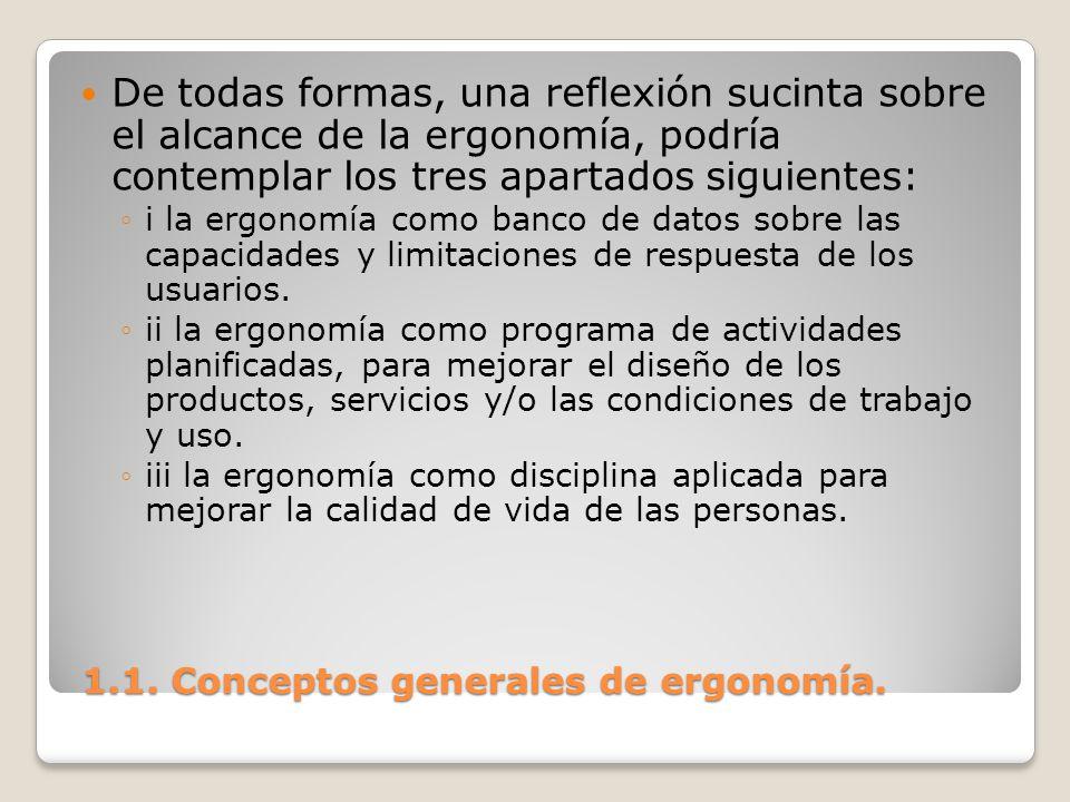 1.1. Conceptos generales de ergonomía. 1.1. Conceptos generales de ergonomía. De todas formas, una reflexión sucinta sobre el alcance de la ergonomía,
