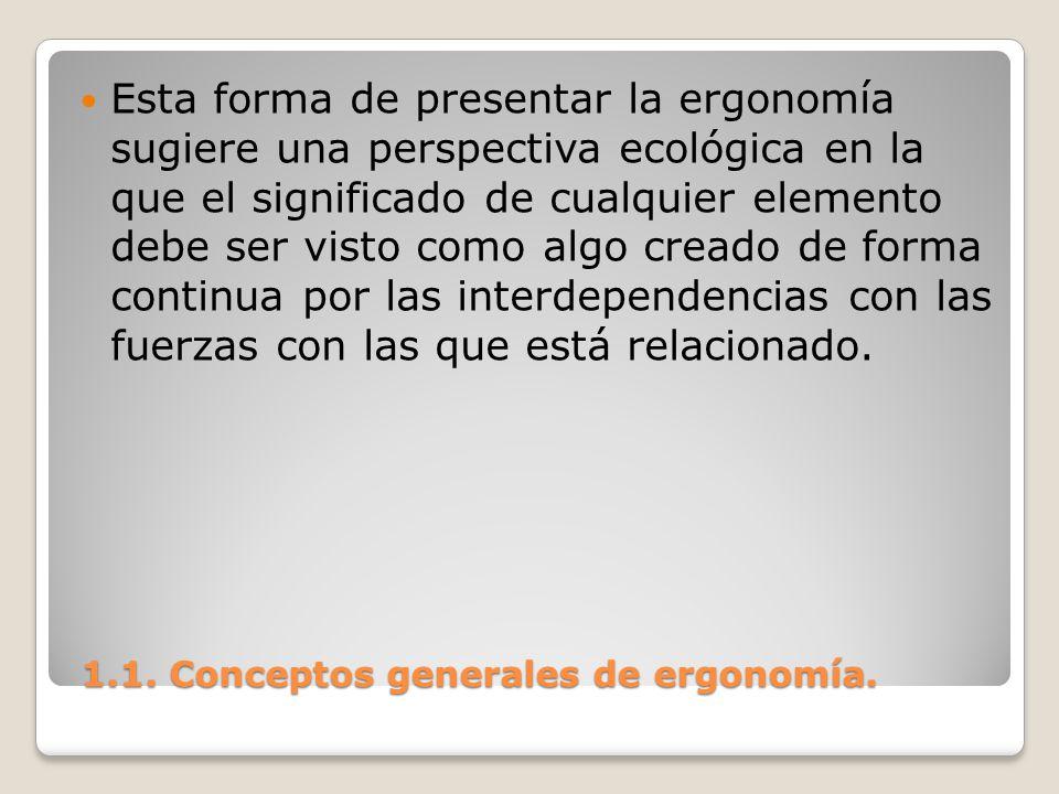 1.1. Conceptos generales de ergonomía. 1.1. Conceptos generales de ergonomía. Esta forma de presentar la ergonomía sugiere una perspectiva ecológica e