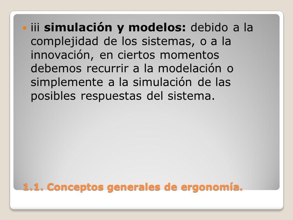 1.1. Conceptos generales de ergonomía. 1.1. Conceptos generales de ergonomía. iii simulación y modelos: debido a la complejidad de los sistemas, o a l