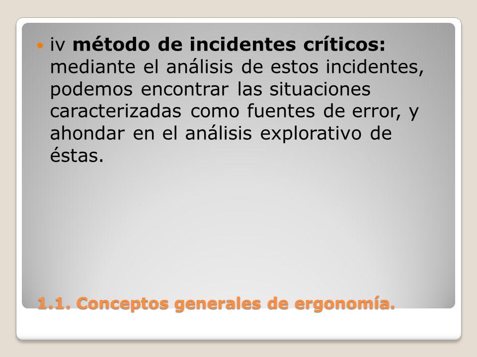 1.1. Conceptos generales de ergonomía. 1.1. Conceptos generales de ergonomía. iv método de incidentes críticos: mediante el análisis de estos incident