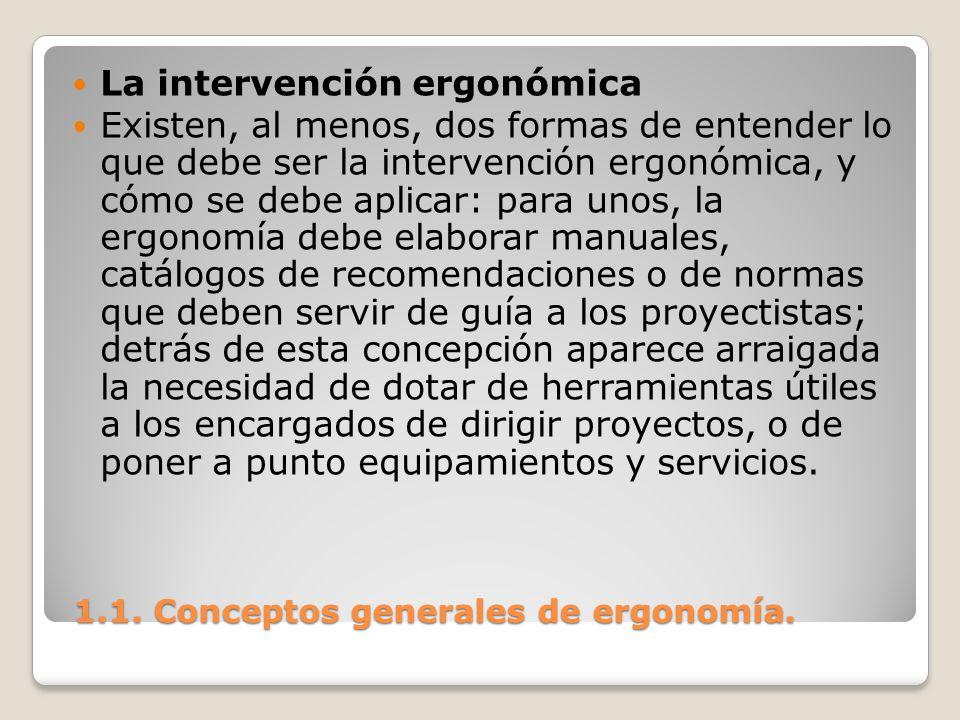 1.1. Conceptos generales de ergonomía. 1.1. Conceptos generales de ergonomía. La intervención ergonómica Existen, al menos, dos formas de entender lo