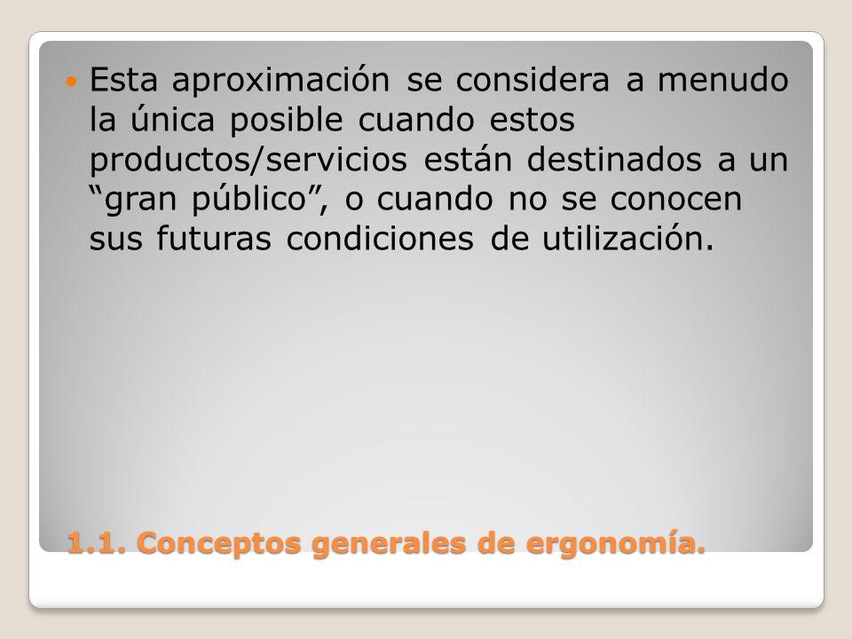 1.1. Conceptos generales de ergonomía. 1.1. Conceptos generales de ergonomía. Esta aproximación se considera a menudo la única posible cuando estos pr