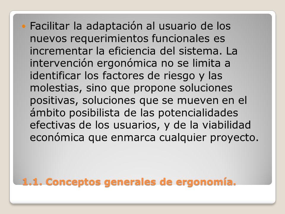 1.1. Conceptos generales de ergonomía. 1.1. Conceptos generales de ergonomía. Facilitar la adaptación al usuario de los nuevos requerimientos funciona