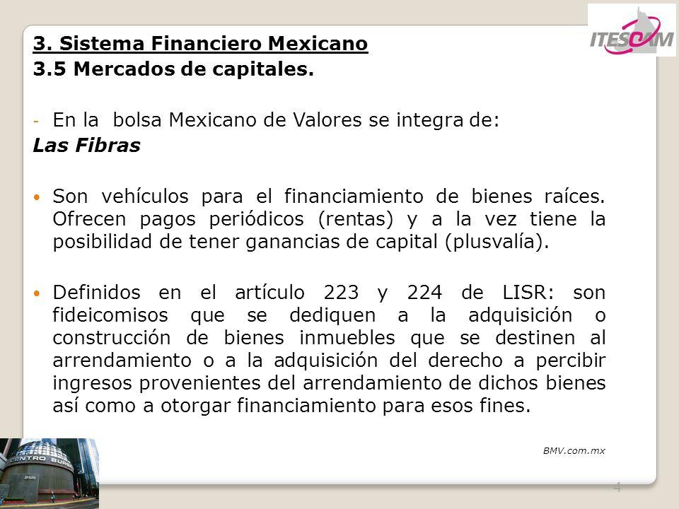 4 3. Sistema Financiero Mexicano 3.5 Mercados de capitales. - En la bolsa Mexicano de Valores se integra de: Las Fibras Son vehículos para el financia