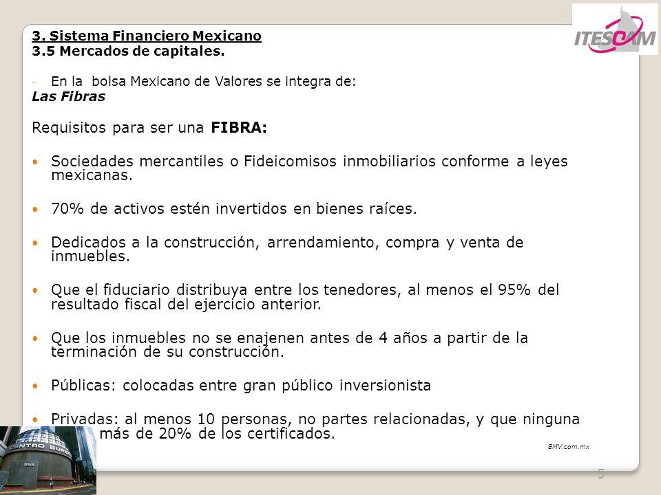 5 3. Sistema Financiero Mexicano 3.5 Mercados de capitales. - En la bolsa Mexicano de Valores se integra de: Las Fibras Requisitos para ser una FIBRA: