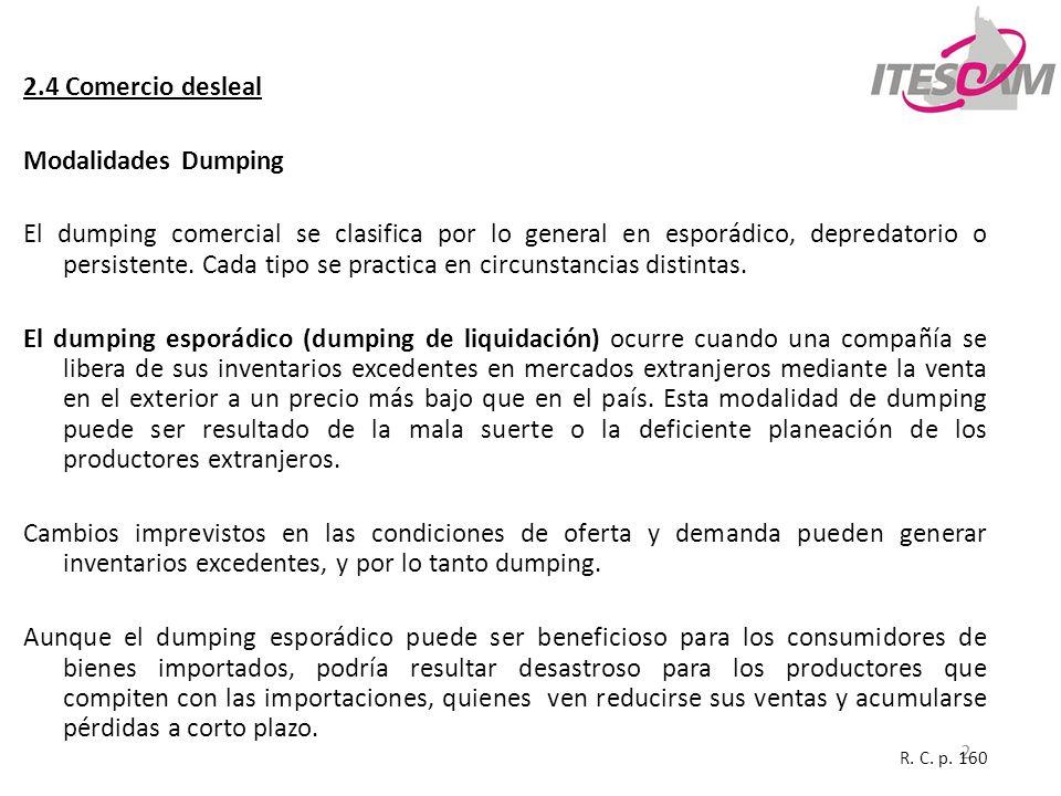 2 2.4 Comercio desleal Modalidades Dumping El dumping comercial se clasifica por lo general en esporádico, depredatorio o persistente. Cada tipo se pr