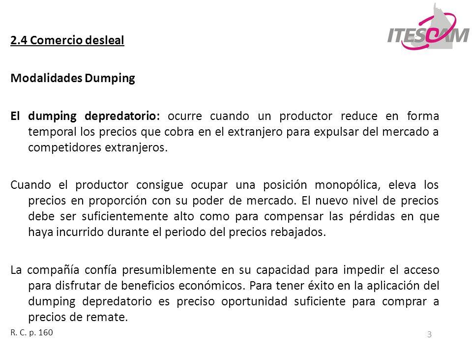 3 2.4 Comercio desleal Modalidades Dumping El dumping depredatorio: ocurre cuando un productor reduce en forma temporal los precios que cobra en el ex