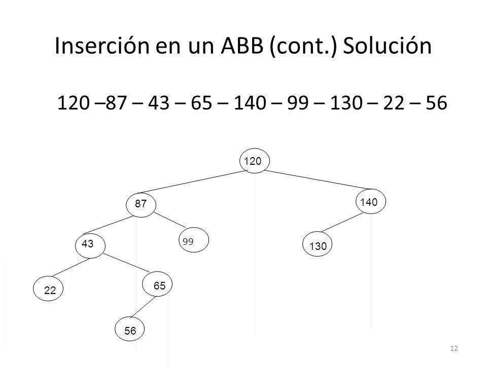 12 Inserción en un ABB (cont.) Solución 120 –87 – 43 – 65 – 140 – 99 – 130 – 22 – 56 120 87 140 43 130 56 I 22 65 99