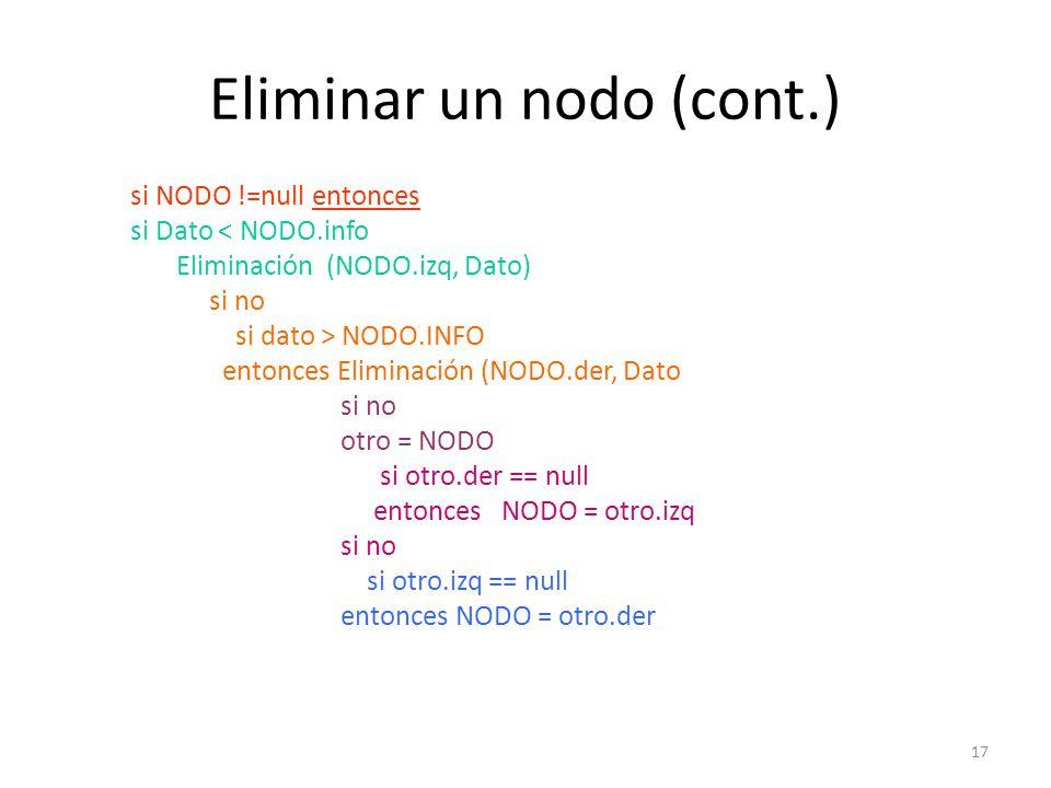 17 Eliminar un nodo (cont.) si NODO !=null entonces si Dato < NODO.info Eliminación (NODO.izq, Dato) si no si dato > NODO.INFO entonces Eliminación (NODO.der, Dato si no otro = NODO si otro.der == null entonces NODO = otro.izq si no si otro.izq == null entonces NODO = otro.der