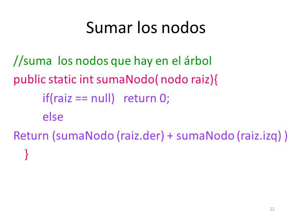 22 Sumar los nodos //suma los nodos que hay en el árbol public static int sumaNodo( nodo raiz){ if(raiz == null) return 0; else Return (sumaNodo (raiz.der) + sumaNodo (raiz.izq) ) }