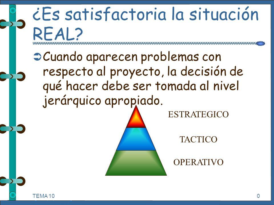 TEMA 10 Seguimiento y Control de Proyectos Informáticos. 0 ¿Es satisfactoria la situación REAL? Ü Cuando aparecen problemas con respecto al proyecto,