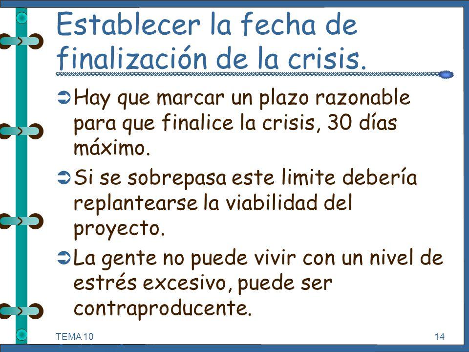 TEMA 10 Seguimiento y Control de Proyectos Informáticos. 14 Establecer la fecha de finalización de la crisis. Ü Hay que marcar un plazo razonable para