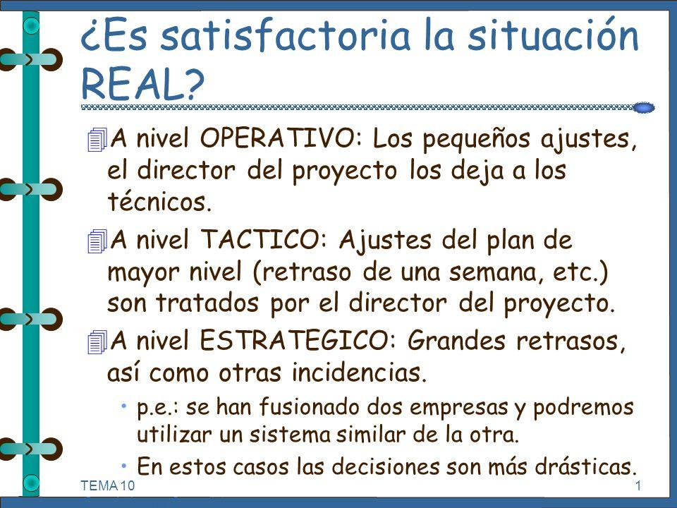 TEMA 10 Seguimiento y Control de Proyectos Informáticos. 1 ¿Es satisfactoria la situación REAL? 4A nivel OPERATIVO: Los pequeños ajustes, el director