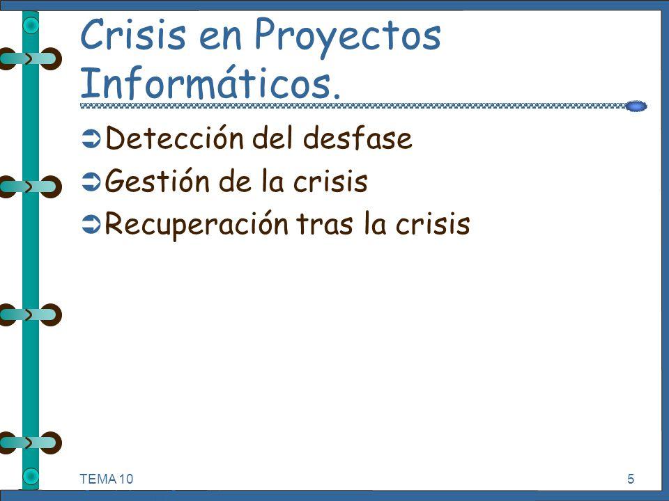 TEMA 10 Seguimiento y Control de Proyectos Informáticos. 5 Crisis en Proyectos Informáticos. Ü Detección del desfase Ü Gestión de la crisis Ü Recupera