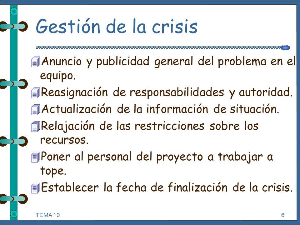 TEMA 10 Seguimiento y Control de Proyectos Informáticos. 6 Gestión de la crisis 4Anuncio y publicidad general del problema en el equipo. 4Reasignación