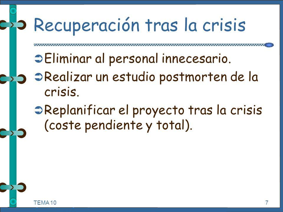 TEMA 10 Seguimiento y Control de Proyectos Informáticos. 7 Recuperación tras la crisis Ü Eliminar al personal innecesario. Ü Realizar un estudio postm