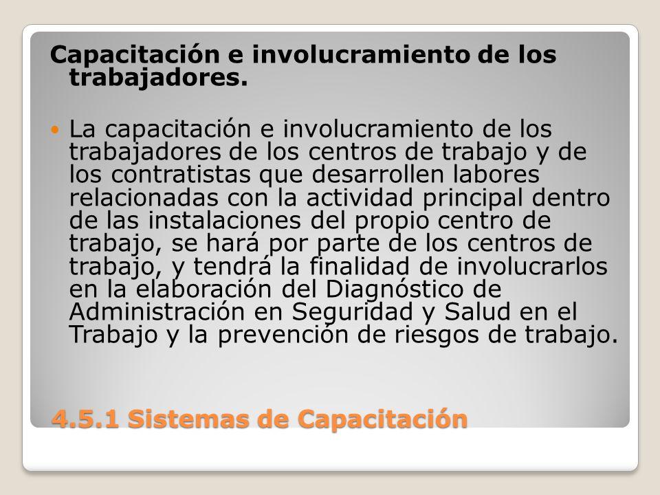 4.5.1 Sistemas de Capacitación 4.5.1 Sistemas de Capacitación Capacitación e involucramiento de los trabajadores.