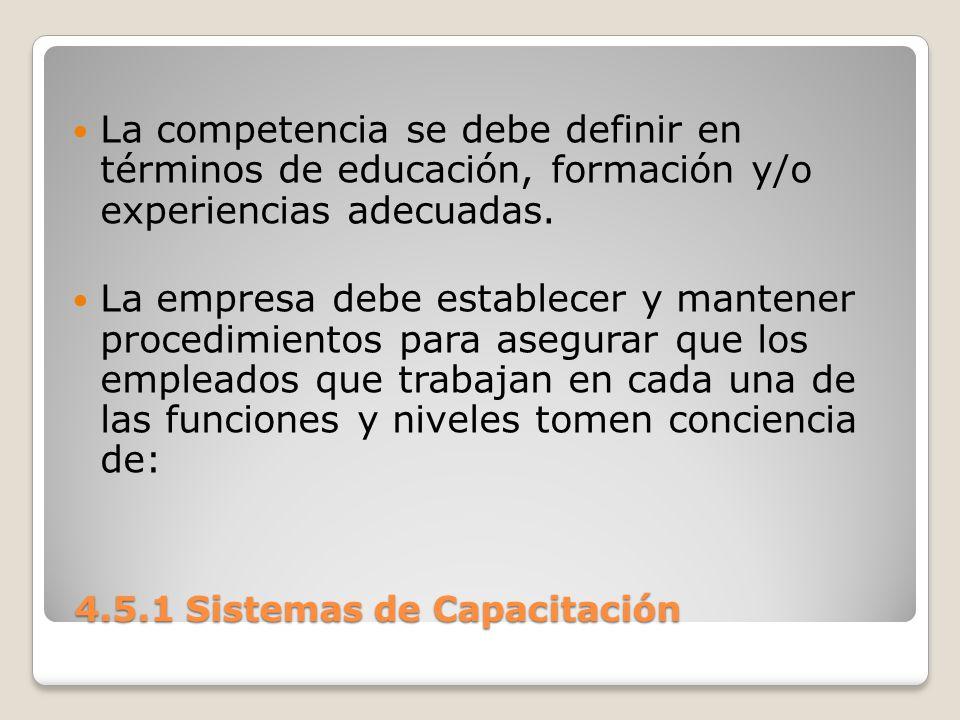 4.5.1 Sistemas de Capacitación 4.5.1 Sistemas de Capacitación La competencia se debe definir en términos de educación, formación y/o experiencias adecuadas.