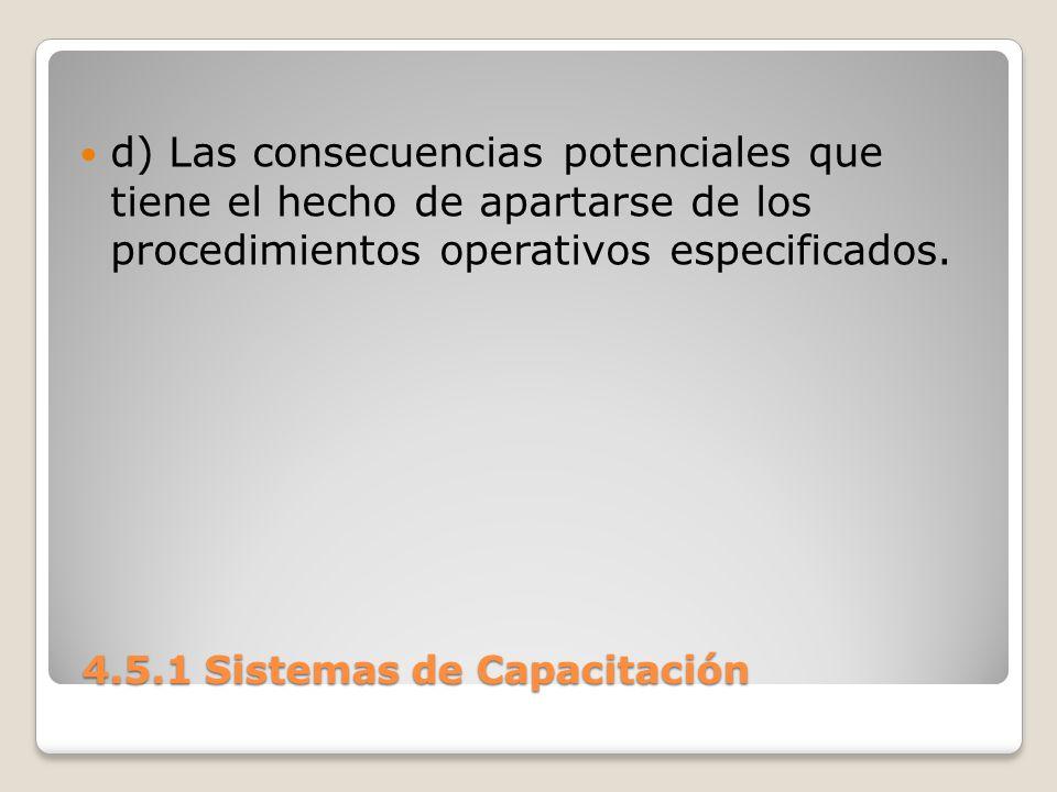 4.5.1 Sistemas de Capacitación 4.5.1 Sistemas de Capacitación d) Las consecuencias potenciales que tiene el hecho de apartarse de los procedimientos operativos especificados.