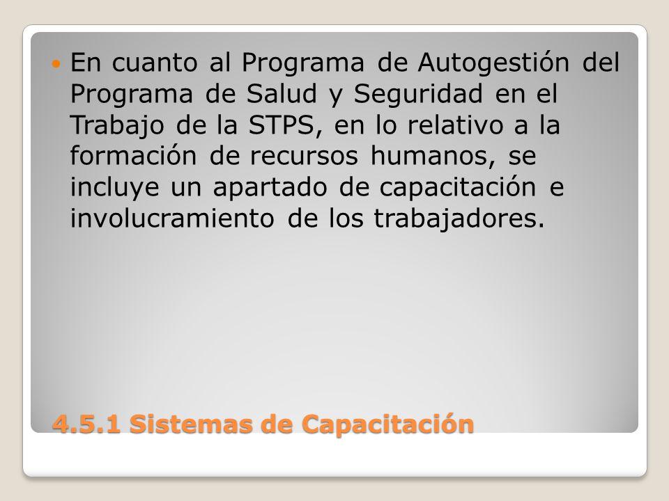 4.5.1 Sistemas de Capacitación 4.5.1 Sistemas de Capacitación En cuanto al Programa de Autogestión del Programa de Salud y Seguridad en el Trabajo de la STPS, en lo relativo a la formación de recursos humanos, se incluye un apartado de capacitación e involucramiento de los trabajadores.