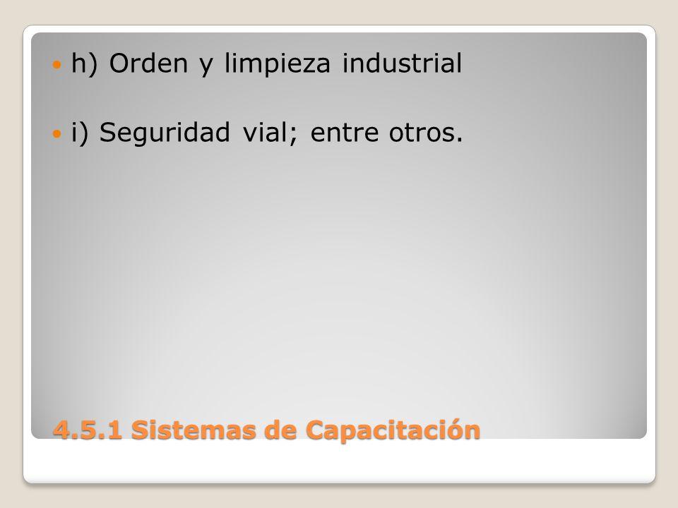 4.5.1 Sistemas de Capacitación 4.5.1 Sistemas de Capacitación h) Orden y limpieza industrial i) Seguridad vial; entre otros.