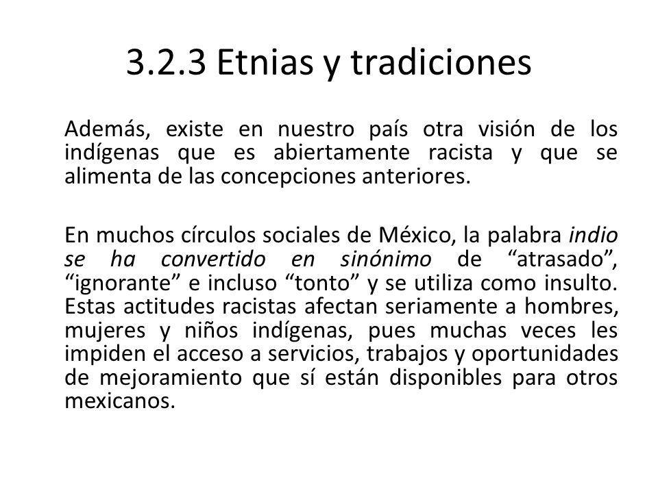 3.2.3 Etnias y tradiciones Además, existe en nuestro país otra visión de los indígenas que es abiertamente racista y que se alimenta de las concepcion