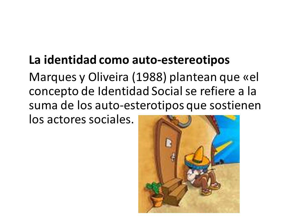 La identidad como auto-estereotipos Marques y Oliveira (1988) plantean que «el concepto de Identidad Social se refiere a la suma de los auto-esterotip