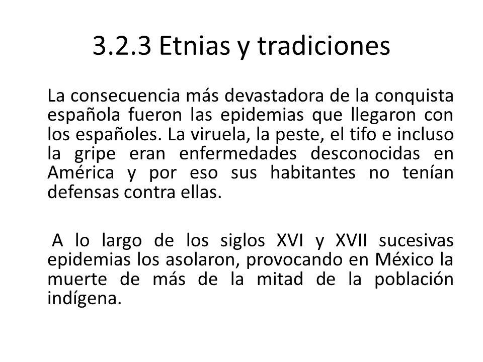 3.2.3 Etnias y tradiciones La consecuencia más devastadora de la conquista española fueron las epidemias que llegaron con los españoles. La viruela, l