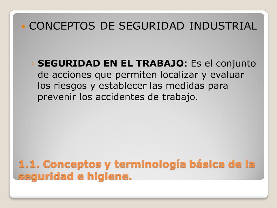 1.1. Conceptos y terminología básica de la seguridad e higiene. CONCEPTOS DE SEGURIDAD INDUSTRIAL SEGURIDAD EN EL TRABAJO: Es el conjunto de acciones