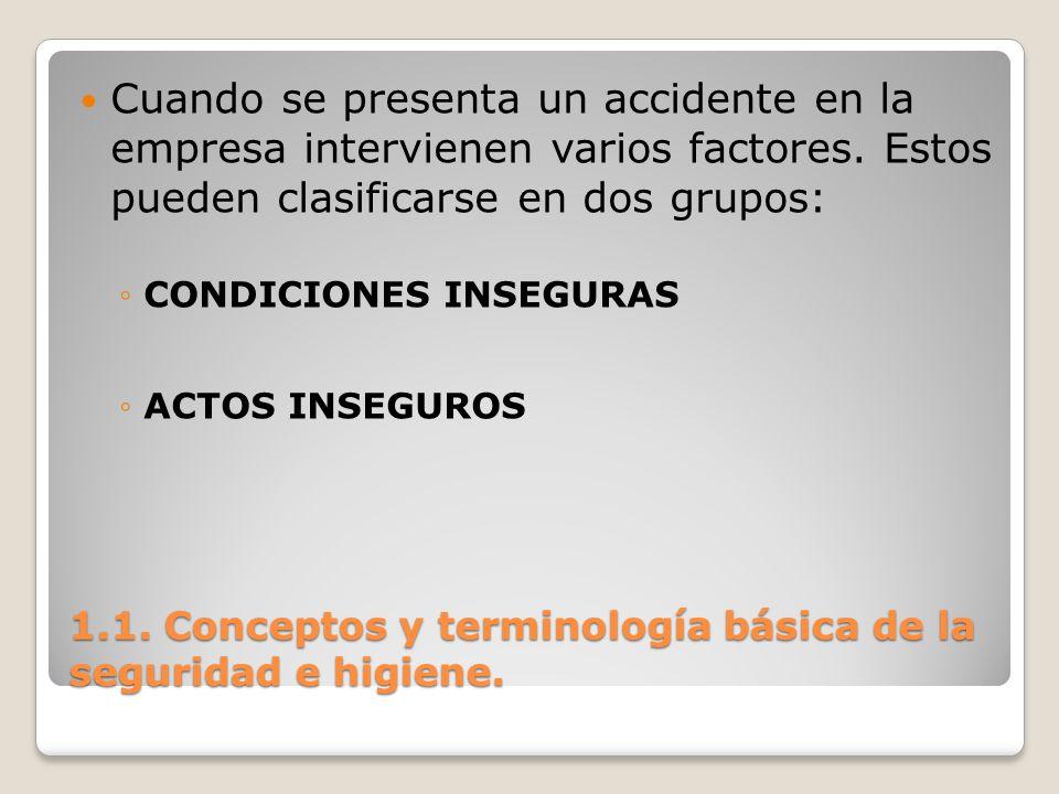 1.1. Conceptos y terminología básica de la seguridad e higiene. Cuando se presenta un accidente en la empresa intervienen varios factores. Estos puede