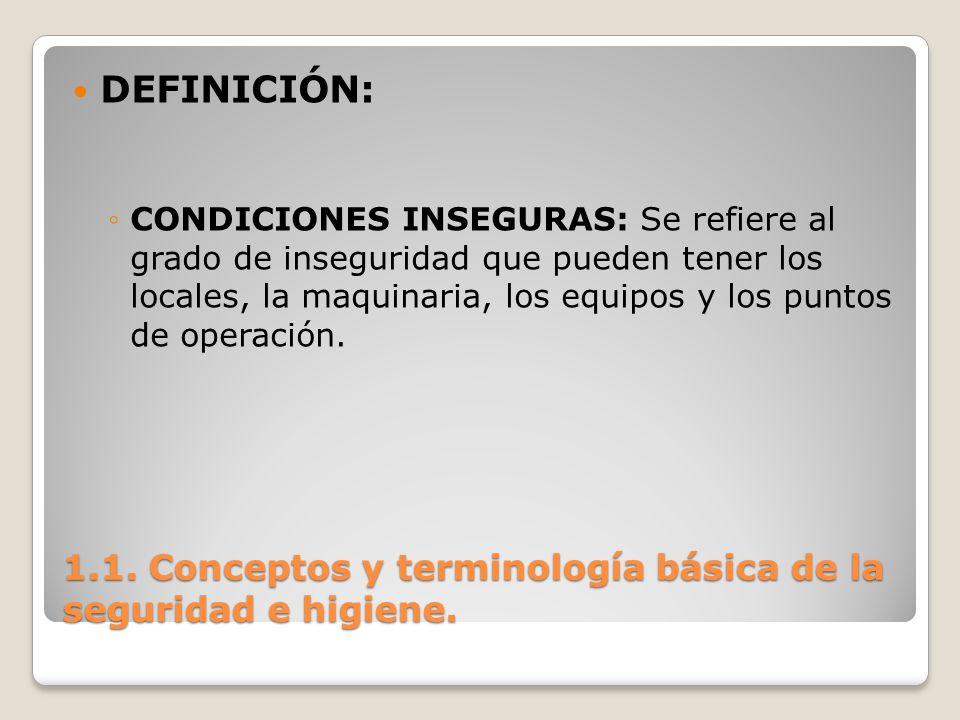 1.1. Conceptos y terminología básica de la seguridad e higiene. DEFINICIÓN: CONDICIONES INSEGURAS: Se refiere al grado de inseguridad que pueden tener
