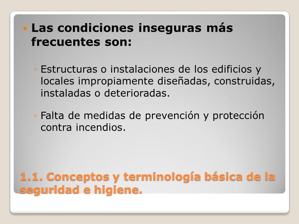 1.1. Conceptos y terminología básica de la seguridad e higiene. Las condiciones inseguras más frecuentes son: Estructuras o instalaciones de los edifi